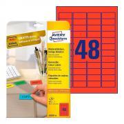 Удаляемые этикетки Avery Zweckform, 45,7 x 21,2 мм, 48 этикеток на листе А4, красные (20 листов) [L6038-20]