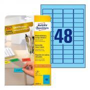 Удаляемые этикетки Avery Zweckform, 45,7 x 21,2 мм, 48 этикеток на листе А4, голубые (20 листов) [L6039-20]