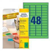 Удаляемые этикетки Avery Zweckform, 45,7 x 21,2 мм, 48 этикеток на листе А4, зеленые (20 листов) [L6040-20]