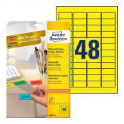 Удаляемые этикетки Avery Zweckform, 45,7 x 21,2 мм, 48 этикеток на листе А4, желтые (20 листов) [L6041-20]
