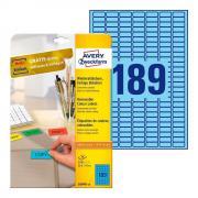 Удаляемые этикетки Avery Zweckform, 25,4 x 10 мм, 189 этикеток на листе А4, голубые (20 листов) [L6048-20]
