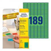 Удаляемые этикетки Avery Zweckform, 25,4 x 10 мм, 189 этикеток на листе А4, зеленые (20 листов) [L6049-20]