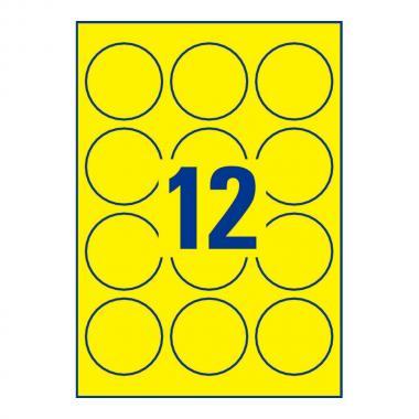 Неоновые желтые этикетки Avery Zweckform, ∅ 63,5 мм (25 листов) [L7670Y-25]