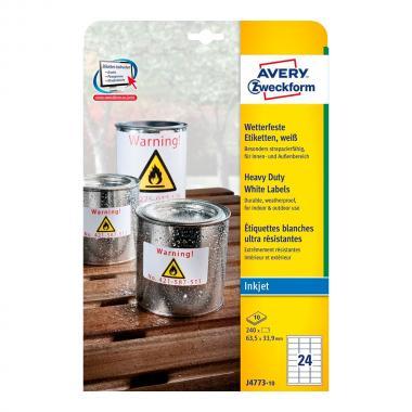 Всепогодные этикетки Avery Zweckform, 63,5 x 42,3 мм, белые (10 листов) [J4773-10]