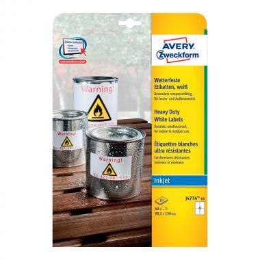 Всепогодные этикетки Avery Zweckform, 99,3 x 139 мм, белые (10 листов) [J4774-10]