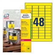 Всепогодные этикетки Avery Zweckform, 45,7 x 21,2 мм, желтые (20 листов) [L6103-20]