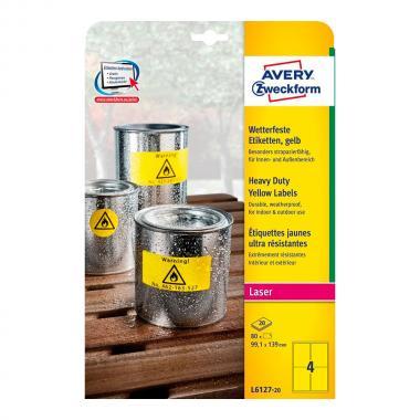 Всепогодные этикетки Avery Zweckform, 99,1 x 139 мм, желтые (20 листов) [L6127-20]