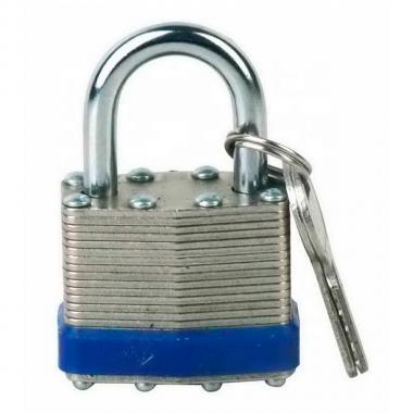 Замок ламинированный стальной, дужка 20 мм, Ø 7 мм, синий [gwr012BLU]